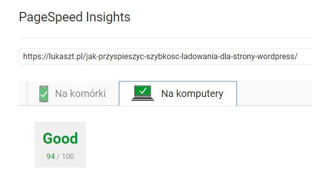 Prędkość strony lukaszt.pl